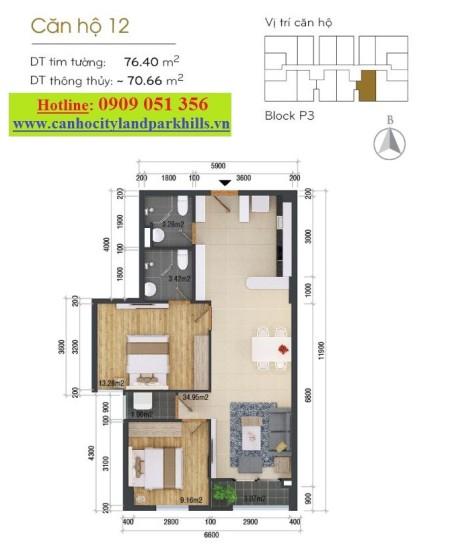 Cần cho thuê căn hộ Cityland mới bàn giao đối diện hồ bơi, 74m2, 2 phòng ngủ, 2 toilet