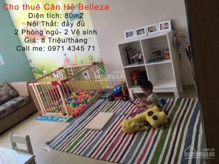 Belleza Phạm Hữu Lầu có căn hộ rộng 80m2, 2 PN, cần cho thuê 8.5 triệu/tháng, có nội thất, 80m2, 2 phòng ngủ, 2 toilet