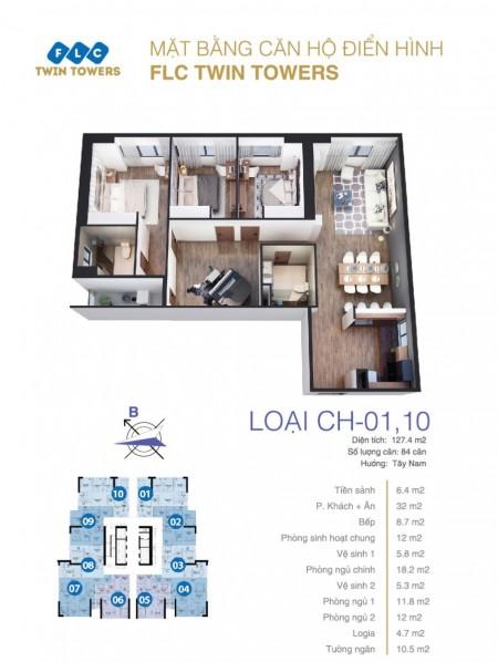 Cho thuê căn hộ E1 – FLC 265 Cầu Giấy (FLC Bamboo Airways): 133m2, 3PN, đủ đồ, 13tr – 0902272077, 133m2, 3 phòng ngủ, 2 toilet