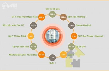 Cho thuê căn góc chung cư Đào Duy Từ quận 10 diện tích 100m2 giá 12tr, 100m2, 2 phòng ngủ, 2 toilet