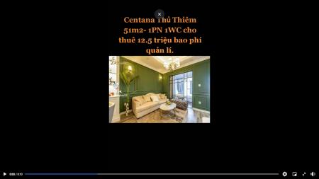Cho thuê căn hộ mới có 1pn tổng diện tích 51m2 tại dự án Centana Thủ Thiêm, 51m2, 1 phòng ngủ, 1 toilet